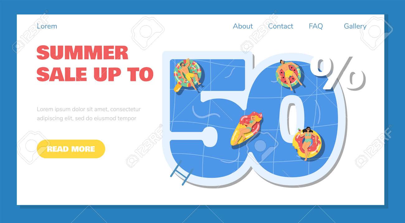Summer 50 percent sale website banner template, flat vector illustration. - 173346091