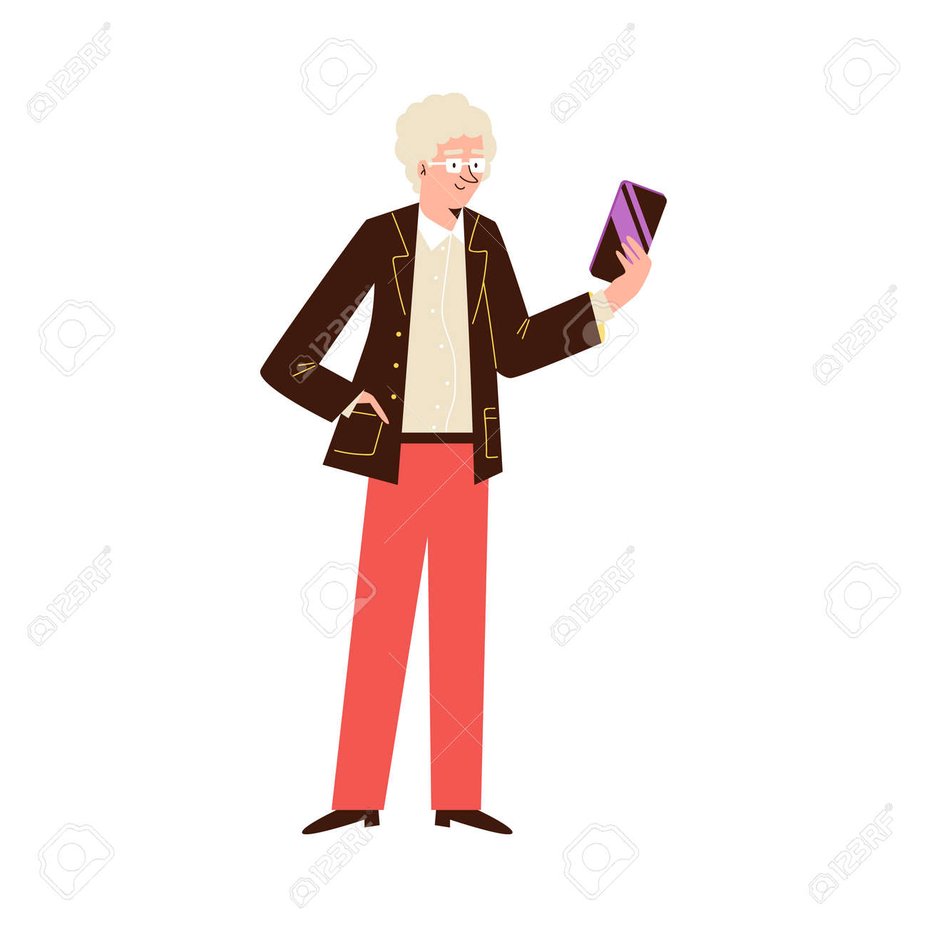 Elderly man standing and looking at phone, flat vector illustration isolated - 173346771