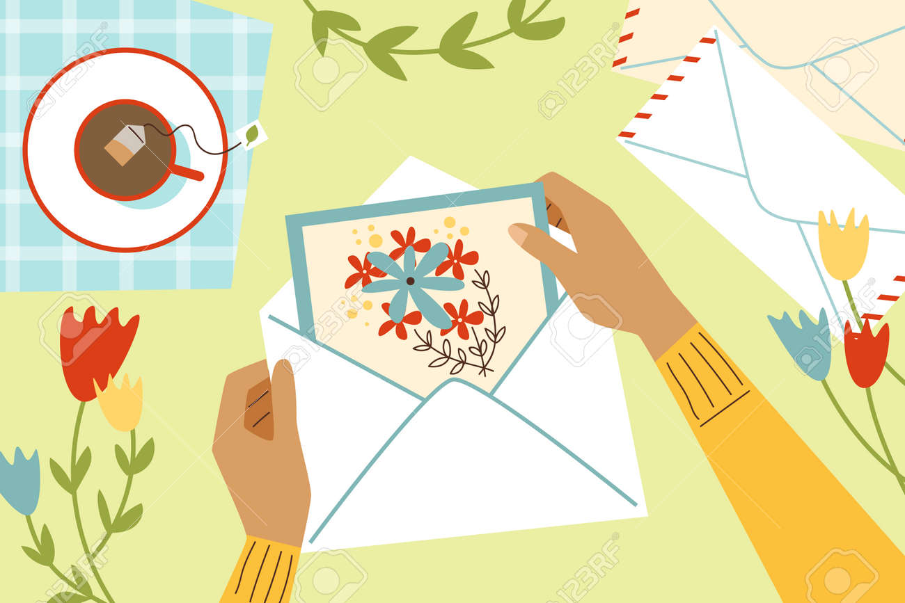 Top view on female hands holding greeting card with flowers a vector illustration - 173358168