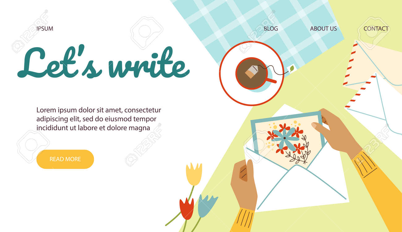 Vector web banner with female hands holding card with flowers in mail envelope - 173358176