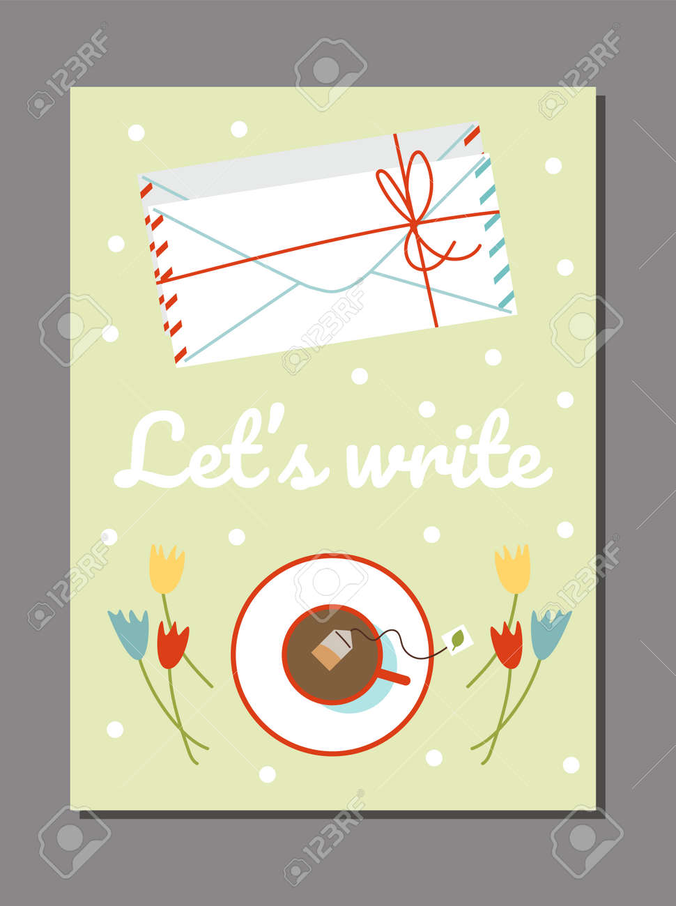 Poster with letters in mail envelopes and cup of tea, flat vector illustration. - 173358182