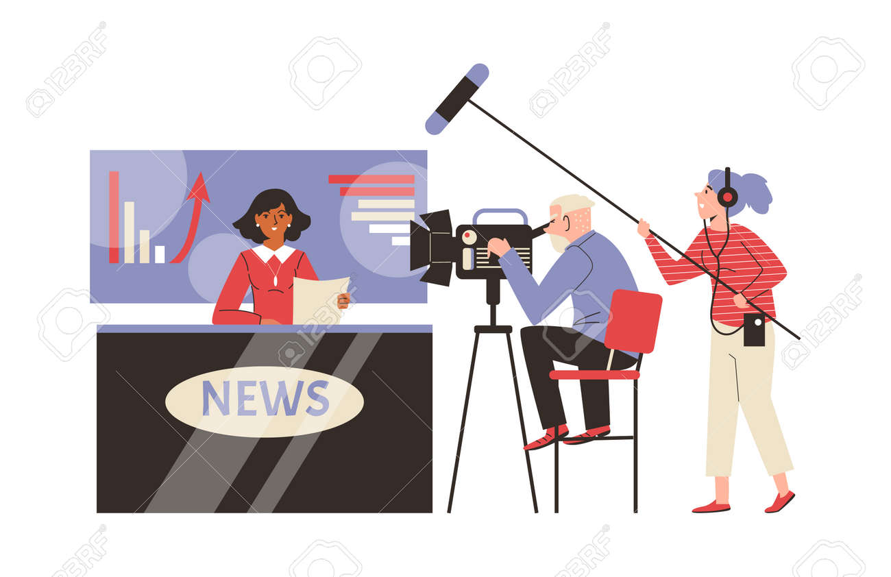 Live broadcasting hot breaking tv news from television studio. - 173358196