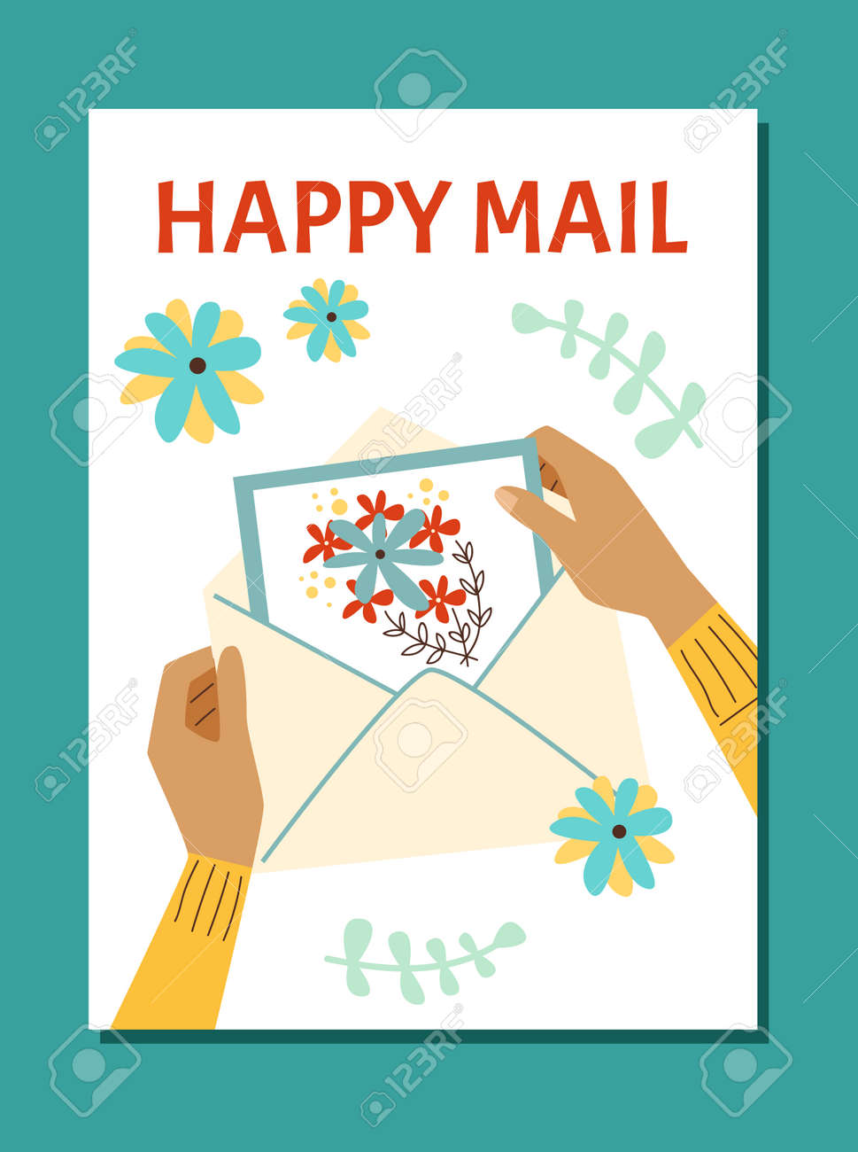 Vector poster with female hands holding greeting holiday card in mail envelope - 173358197