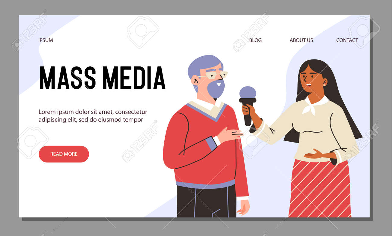 Vector web banner with tv journalist takes interviews broadcasting breaking news - 173358198