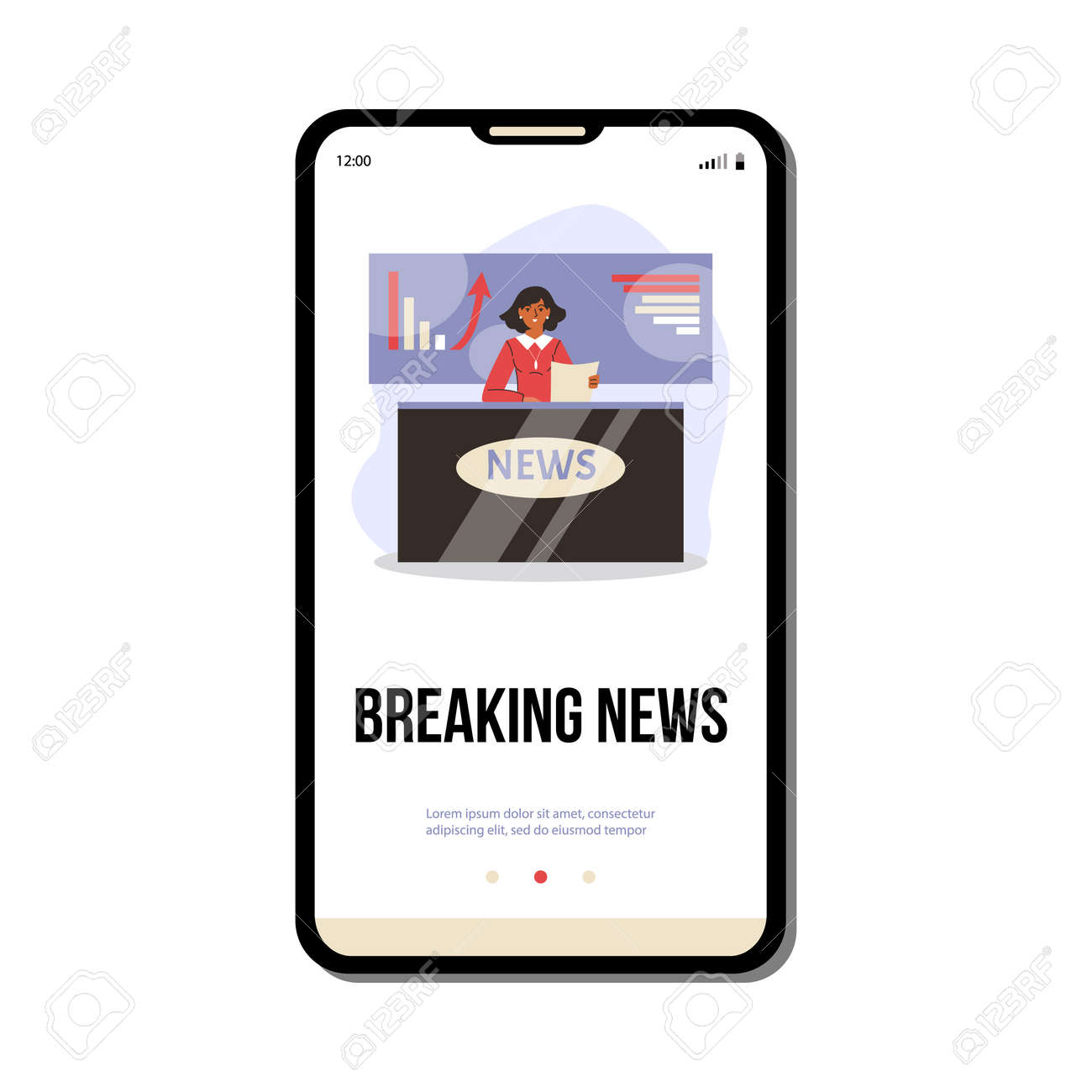 Mobile phone screen with live broadcasting breaking economic news from tv studio - 173358202