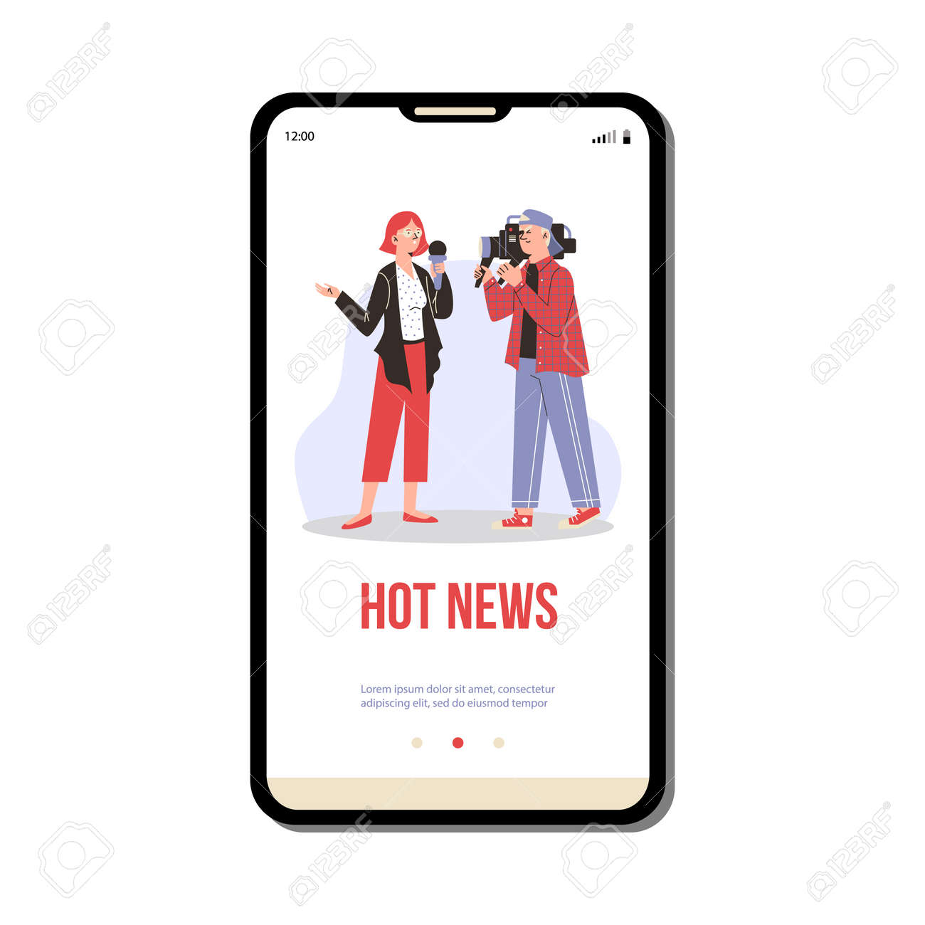 Smartphone app with live broadcasting tv daily hot news a vector illustration. - 173358201