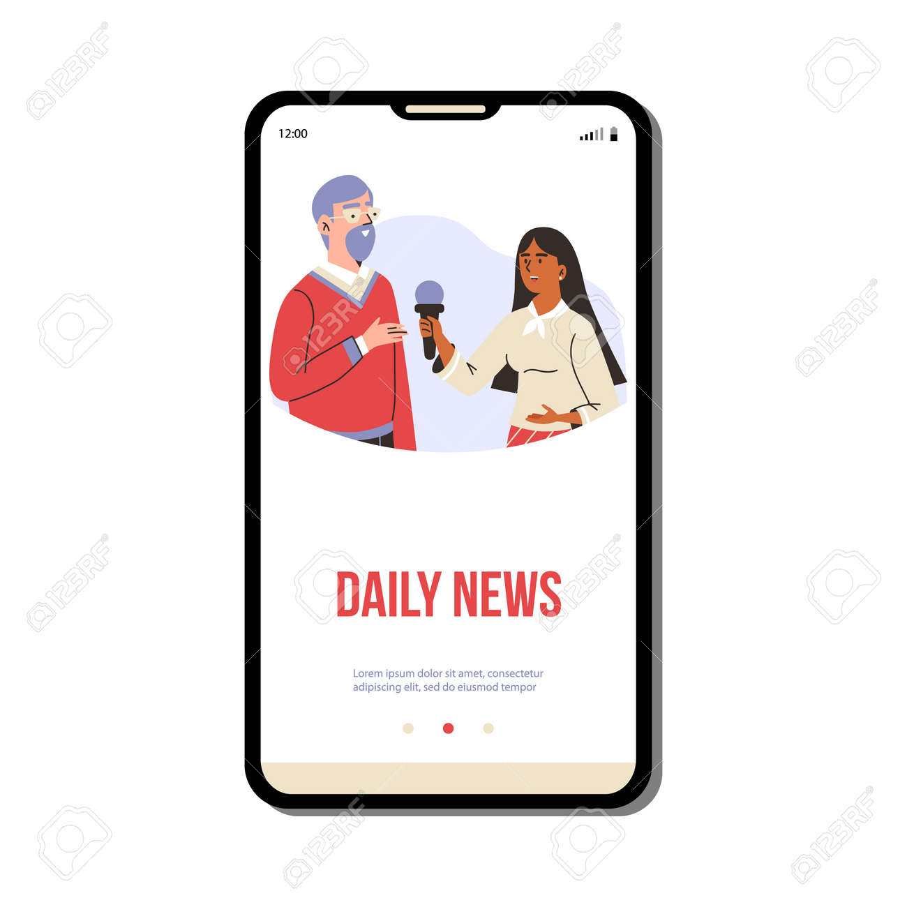 Daily news mobile page with reporter interviews a man, flat vector illustration. - 173358199