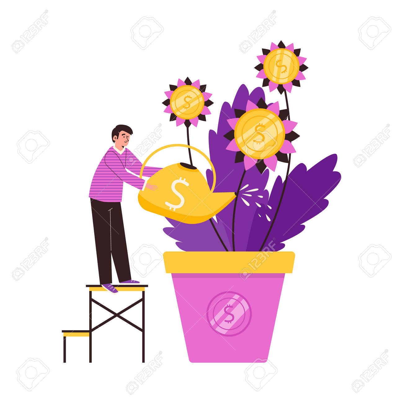 Business man care to money tree growing in pot a vector illustration - 173358207