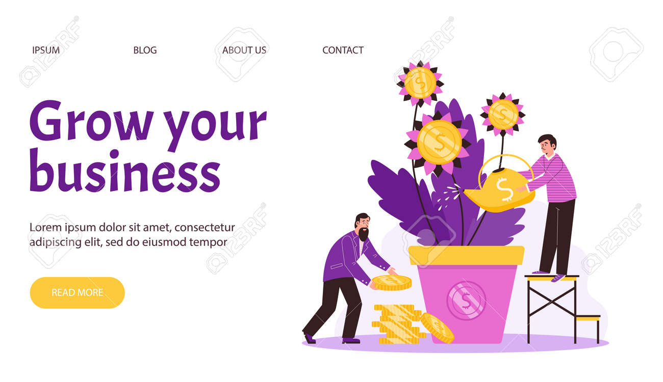 Web page with business persons watering money tree and collects golden coins. - 173358210