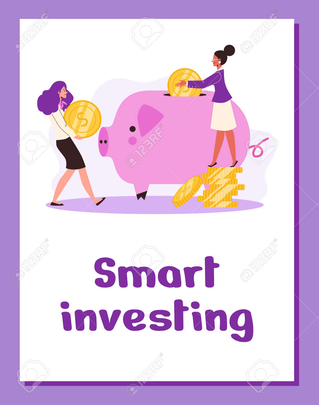 Poster with business women making financial smart investment or finance savings. - 173358213