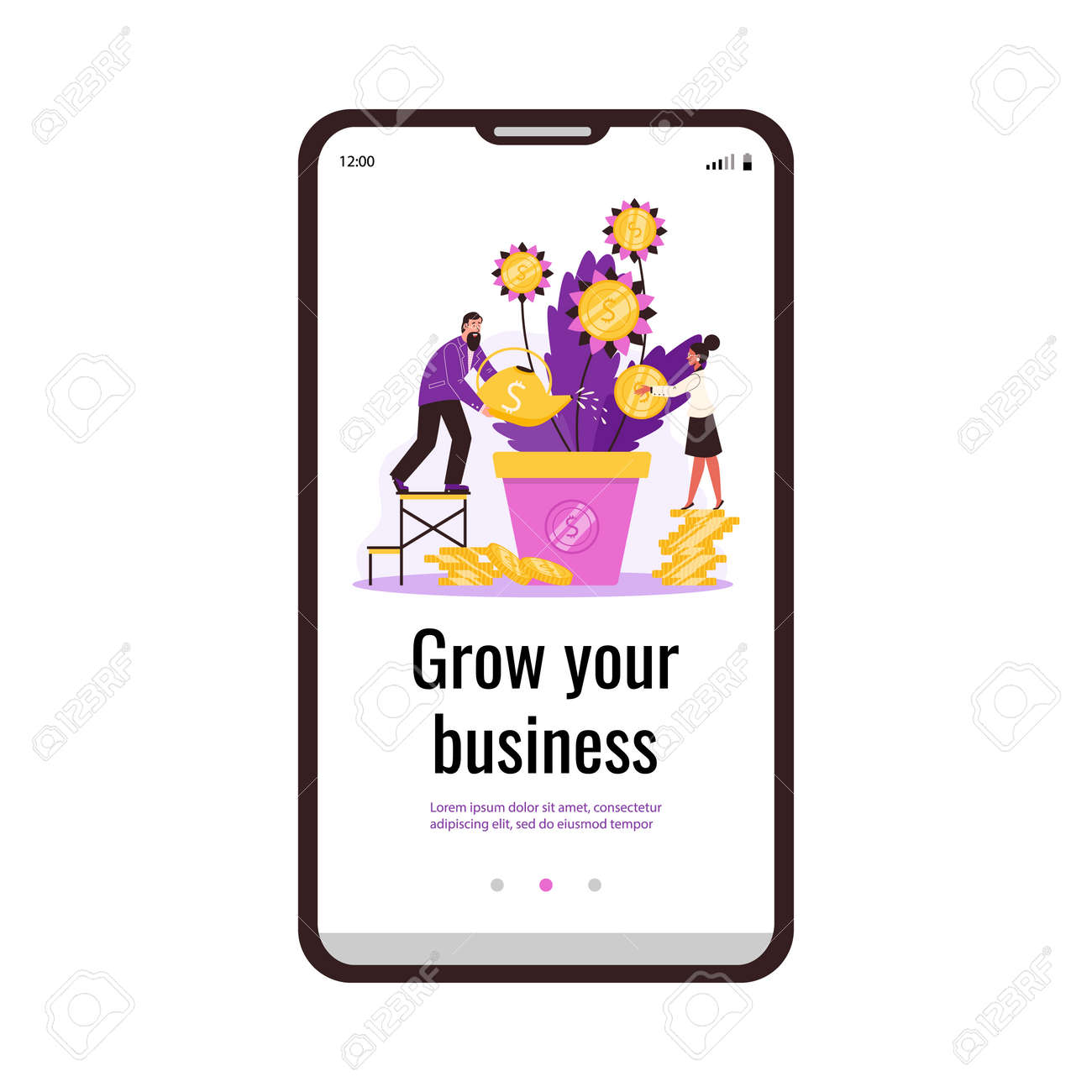 Vector mobile phone screen with business man and woman caring money tree in pot. - 173358214