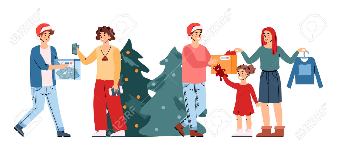 Christmas donation scene with happy people giving holiday gifts - 173358216