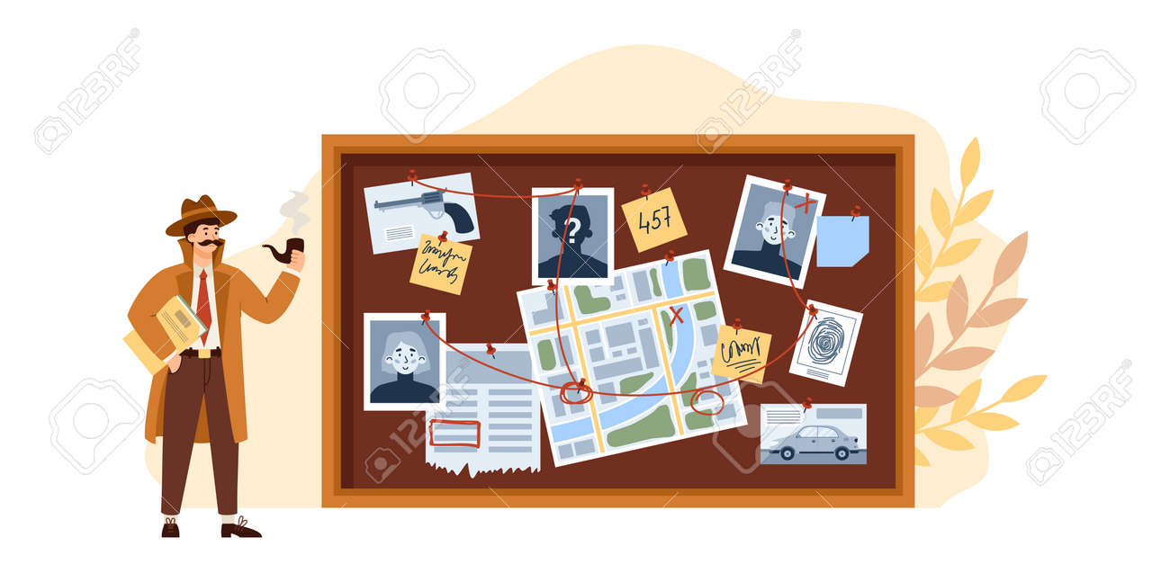 Male detective look on investigation board with scheme investigate. - 173358217