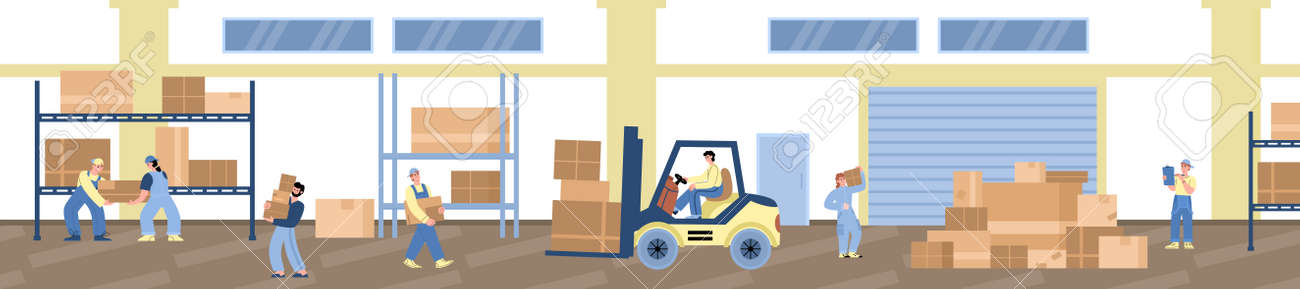 Workers in warehouse or logistic company storage, vector illustration isolated. - 173358218