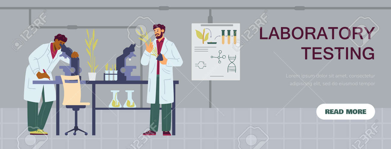 Laboratory testing website banner template, flat vector illustration isolated. - 173358219