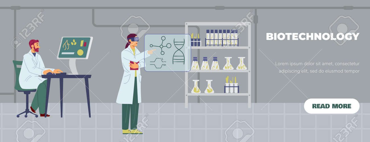 Biotechnology laboratory with working scientists, flat vector illustration. - 173358220