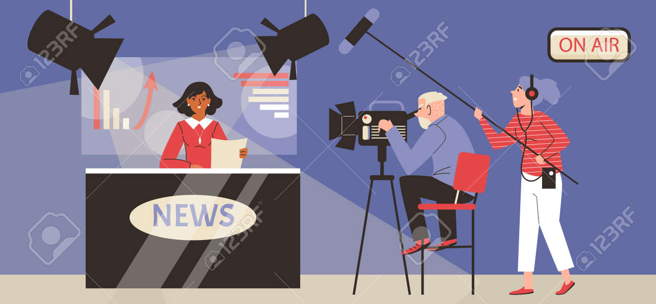 Live broadcasting breaking tv news from television studio a vector illustration. - 173358229