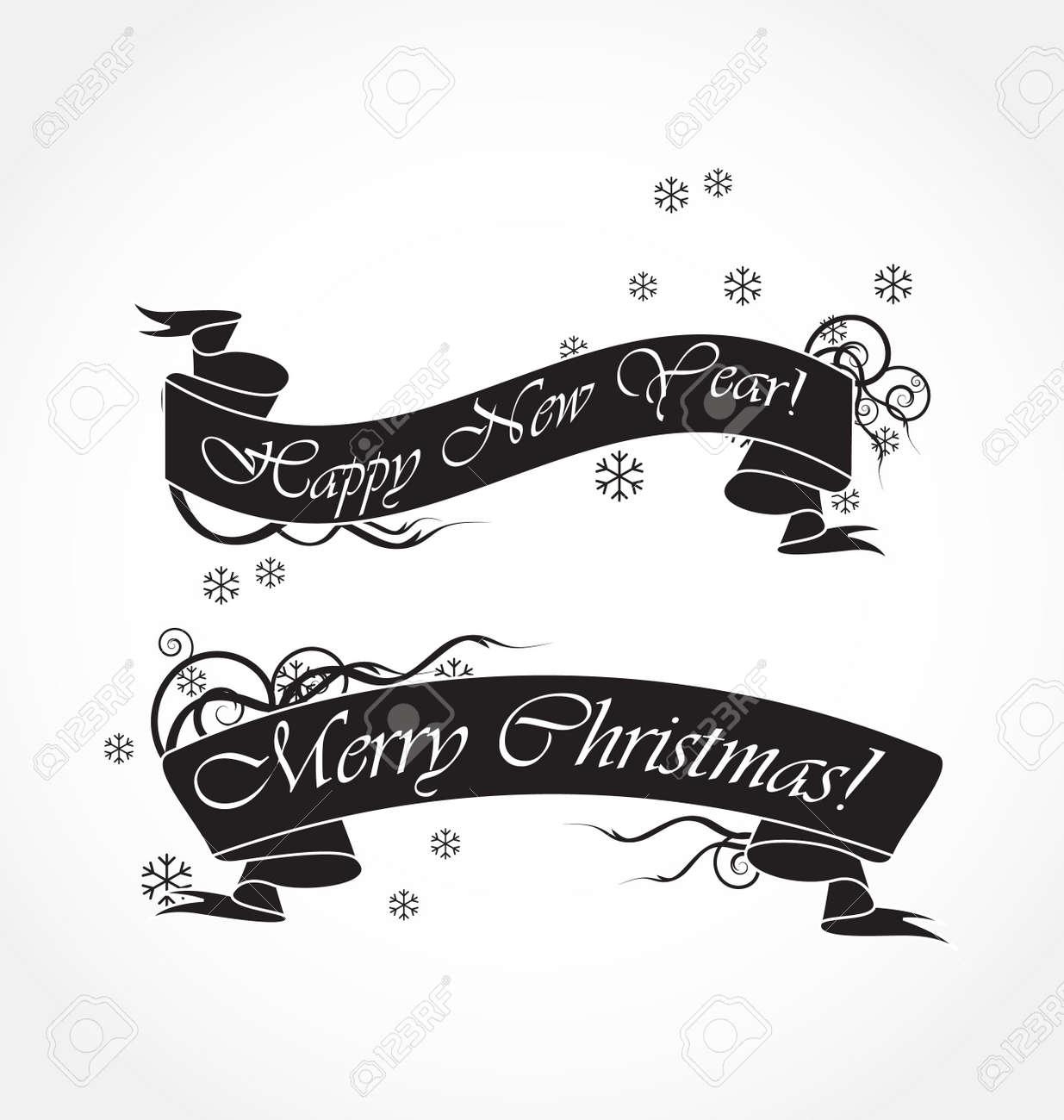 merry christmas black ribbons Stock Vector - 8197082