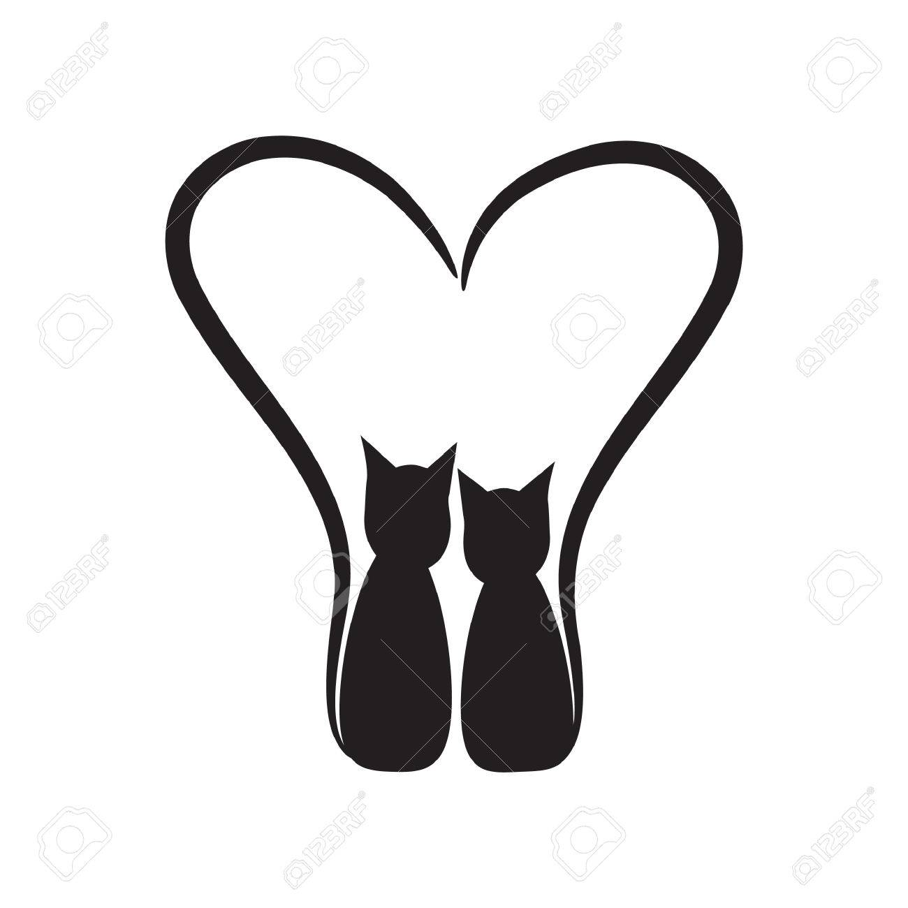 Two Cats With Heart Royalty Free Cliparts Vectors And Stock