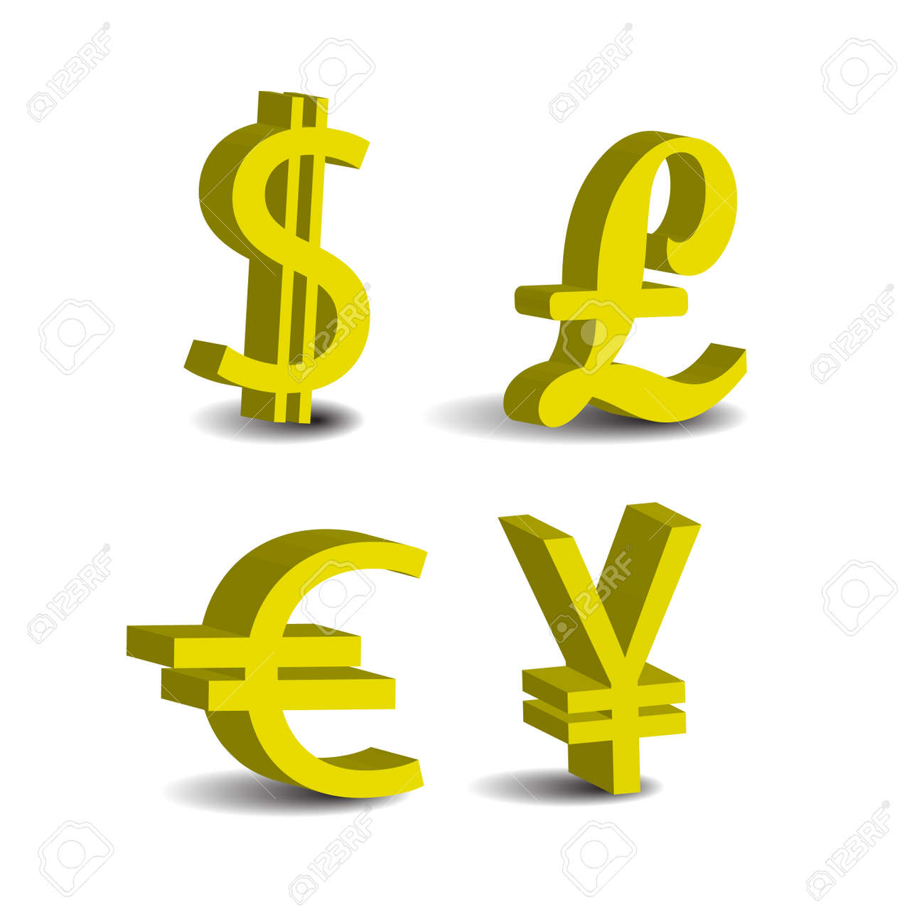 Set of 4 currency 3d symbols usd pound euro yen royalty free set of 4 currency 3d symbols usd pound euro yen stock vector biocorpaavc Images