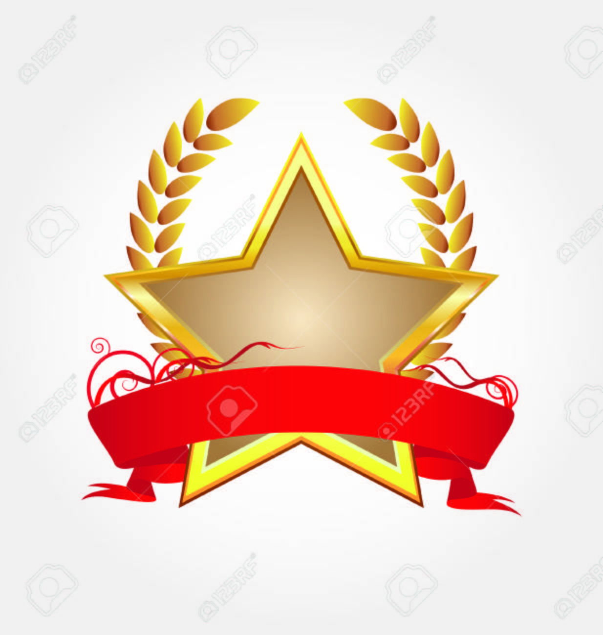 gold star with red ribbon Stock Vector - 8398496