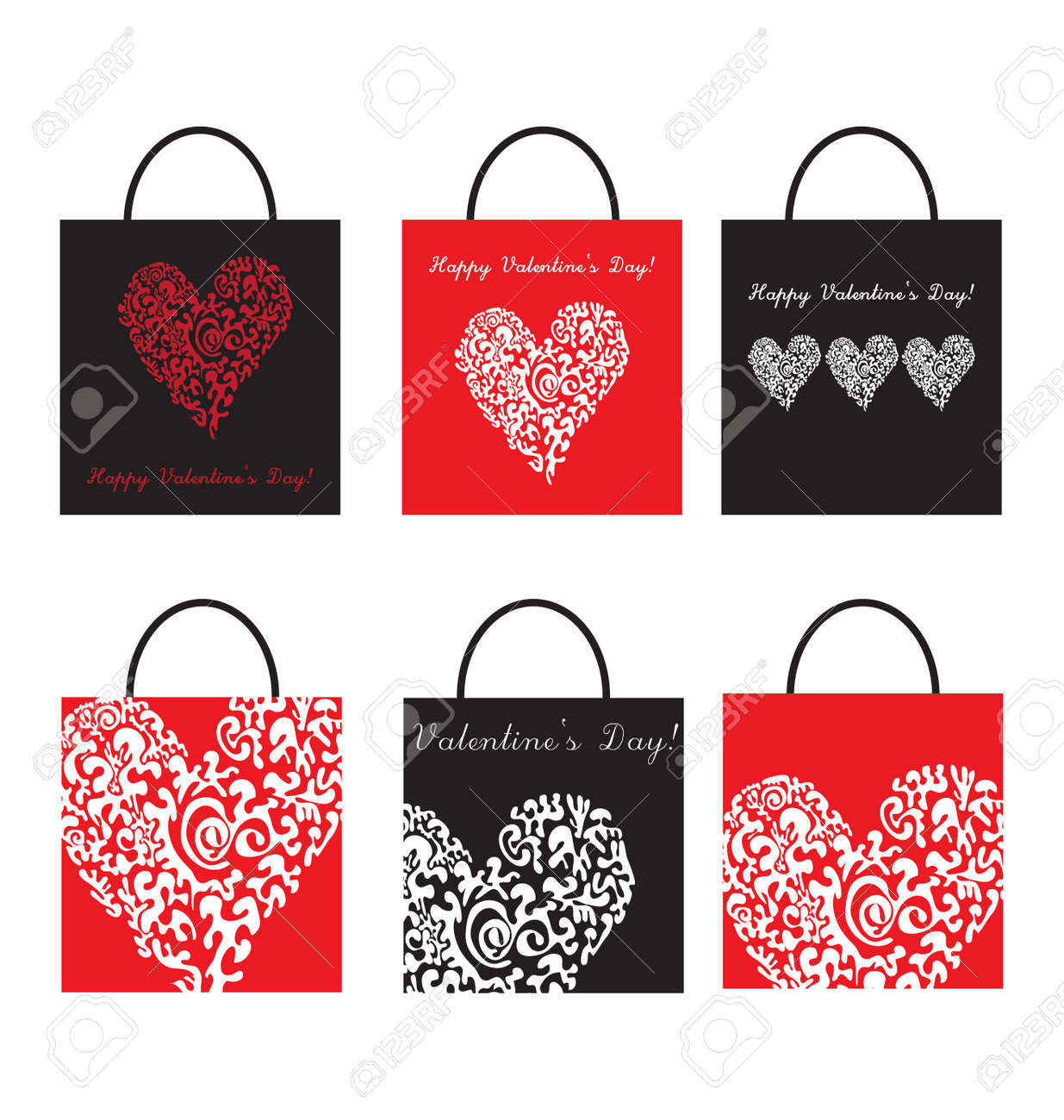 set of Shoping Bags for valentine`s day Stock Vector - 8677339