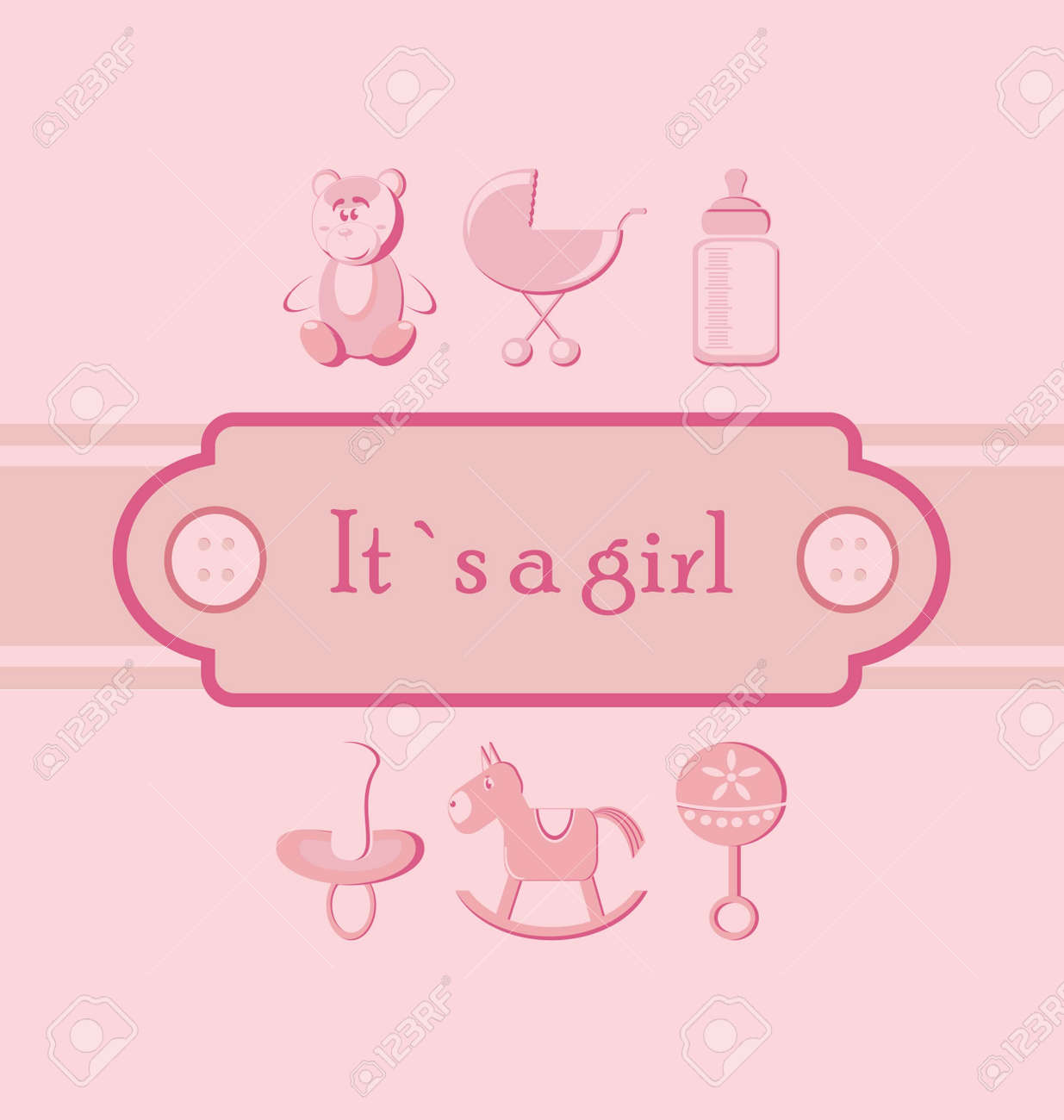 Baby Girl Arrival Announcement Card Royalty Free Cliparts – Announcement of Baby Girl