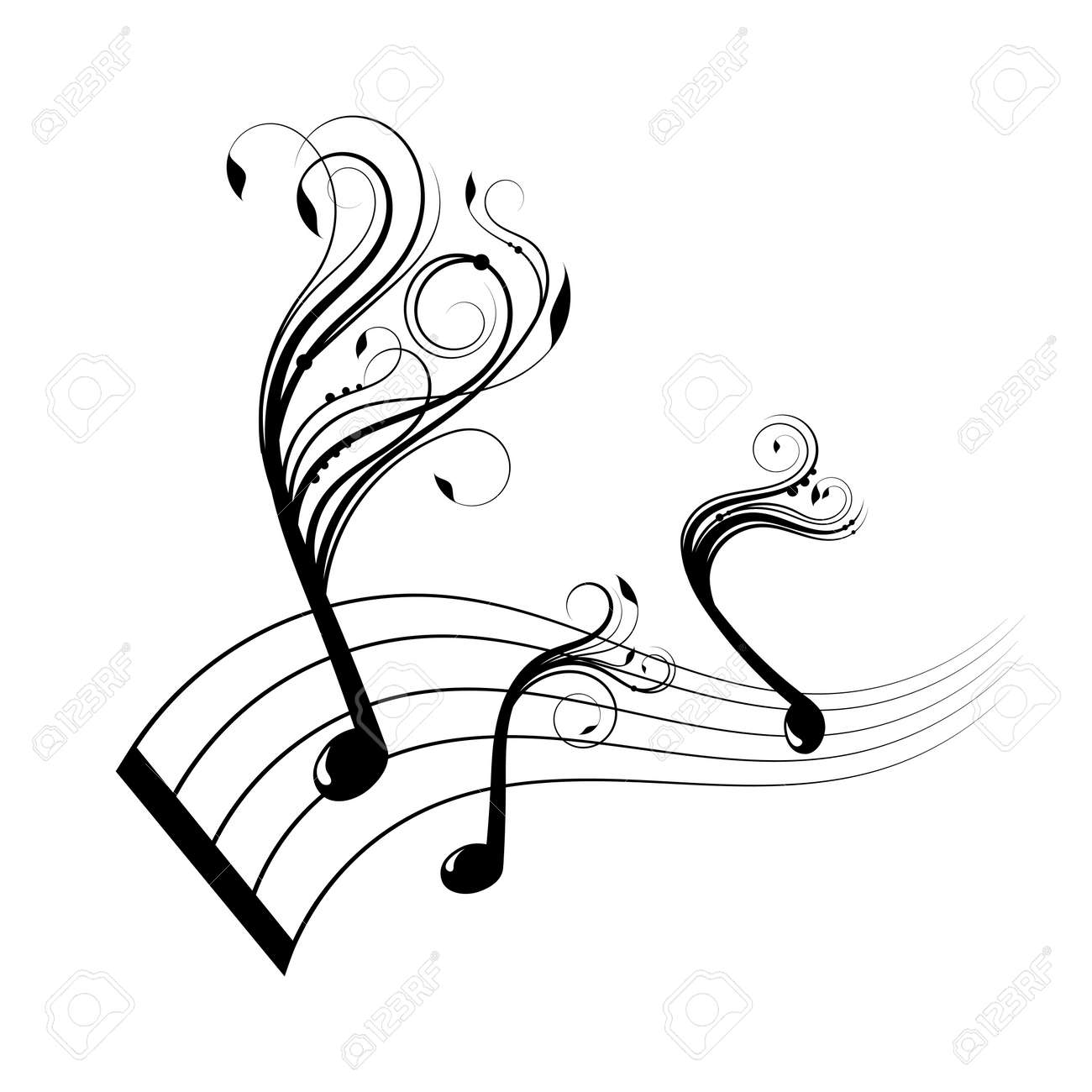 Musical notes staff background with design Stock Vector - 17565486