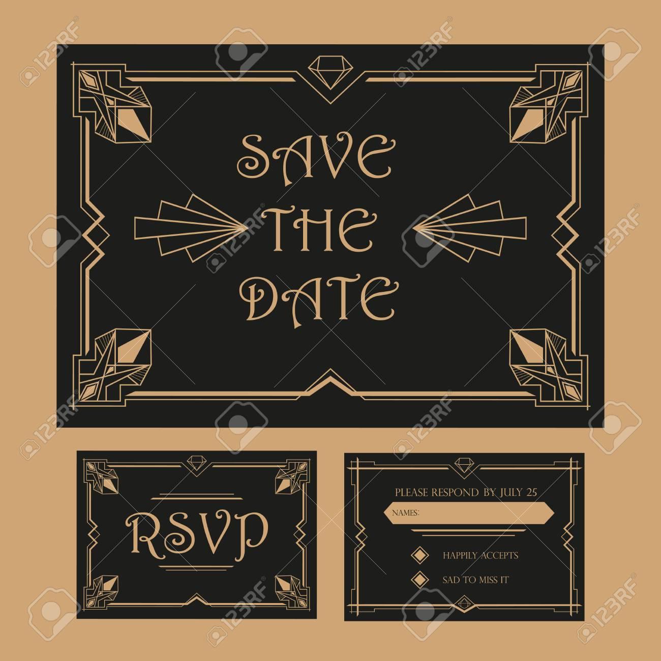 save the date wedding invitation card rsvp art deco vintage