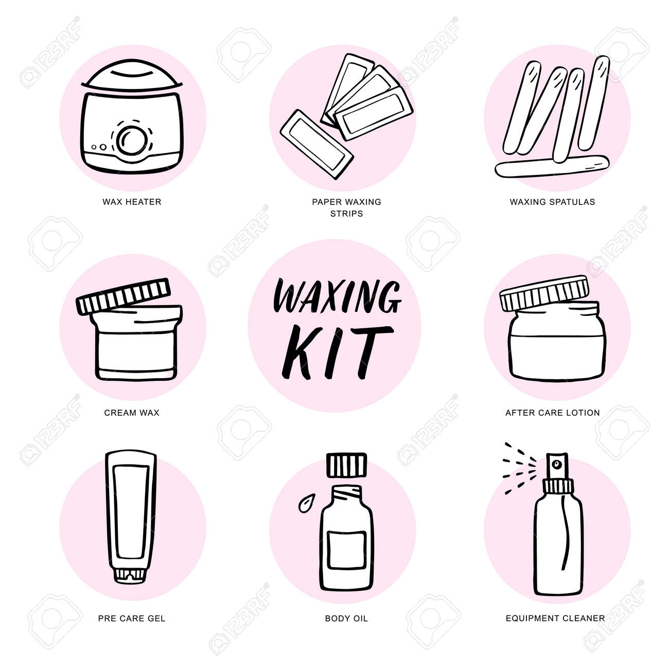 Handdrawn Hair Removal Icons Set Wax Heater And Accessories