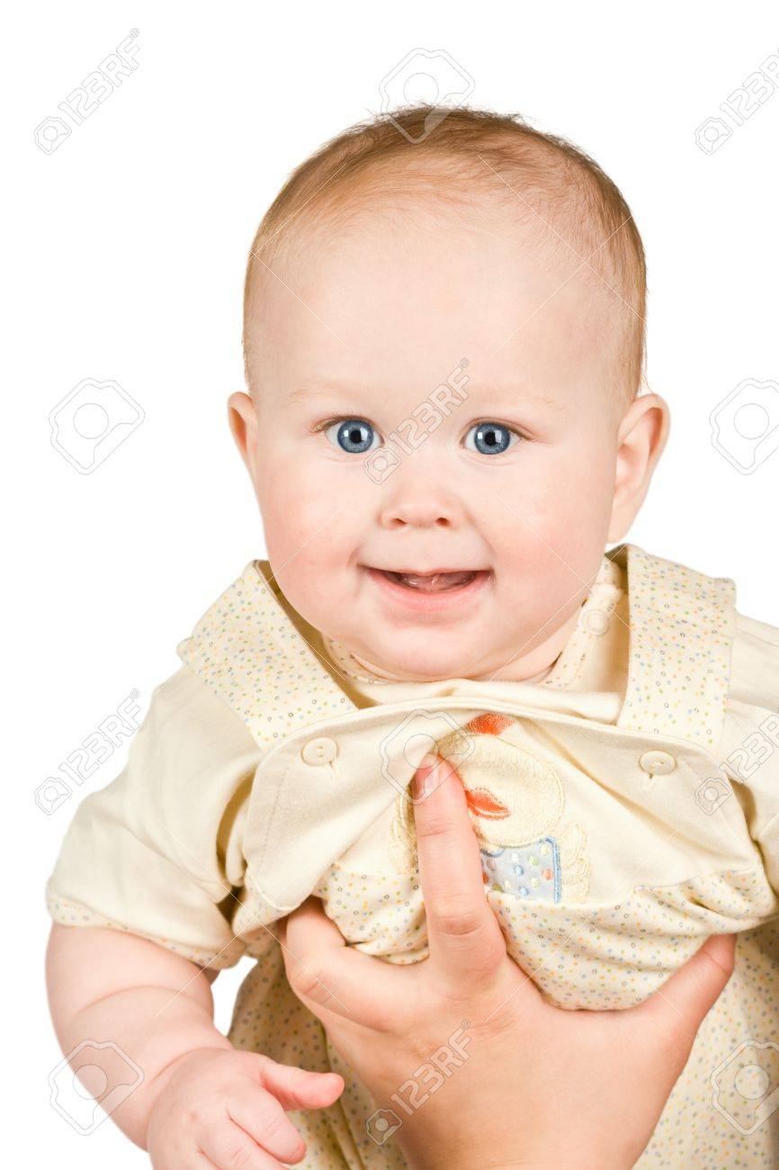 Baby face isolated on  white background Stock Photo - 10032102