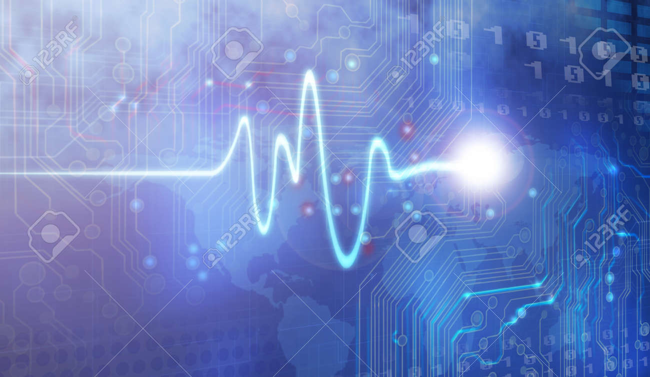Pulse Trace drawing and computer design Stock Photo - 12404409