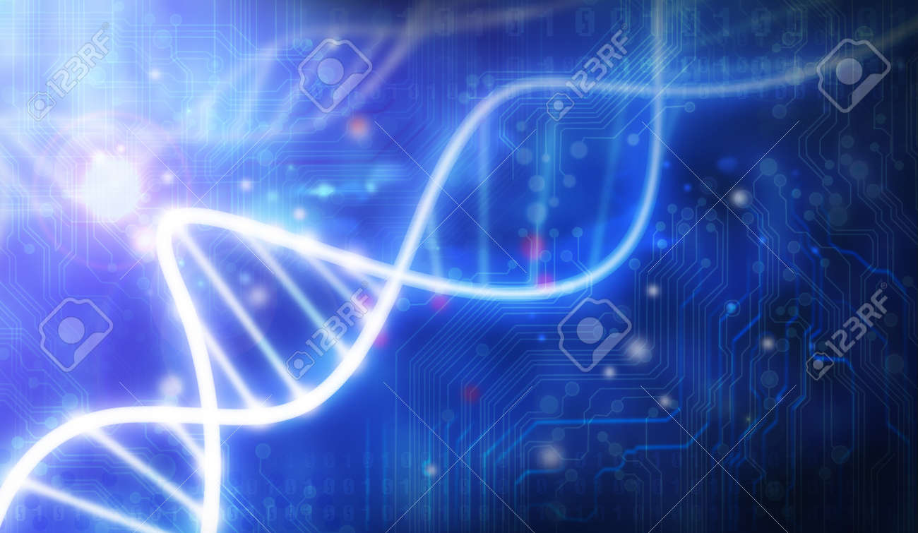 glass DNA molecule over blue abstract background Stock Photo - 12938411