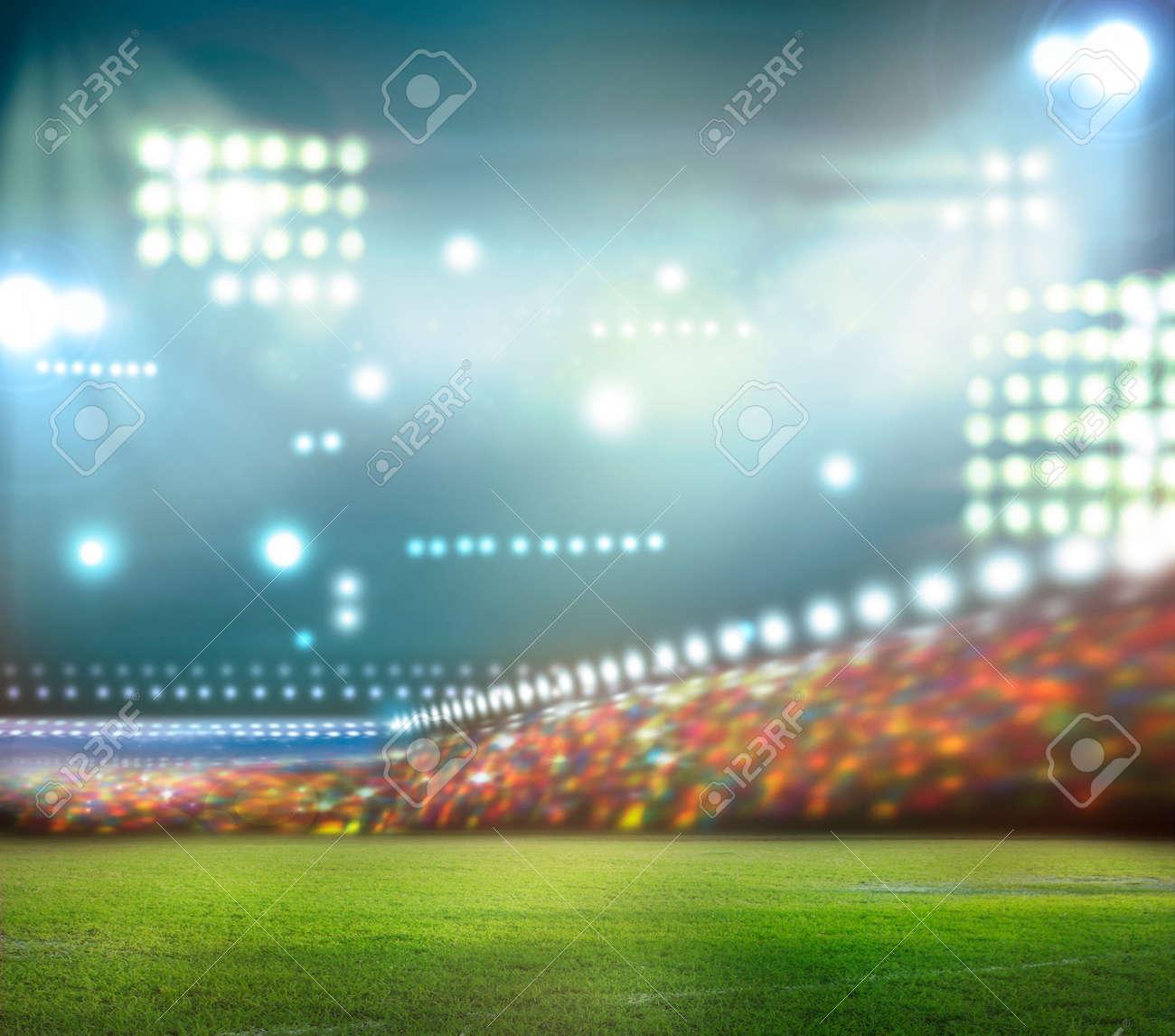 stadium lights at night and stadium - 31641327