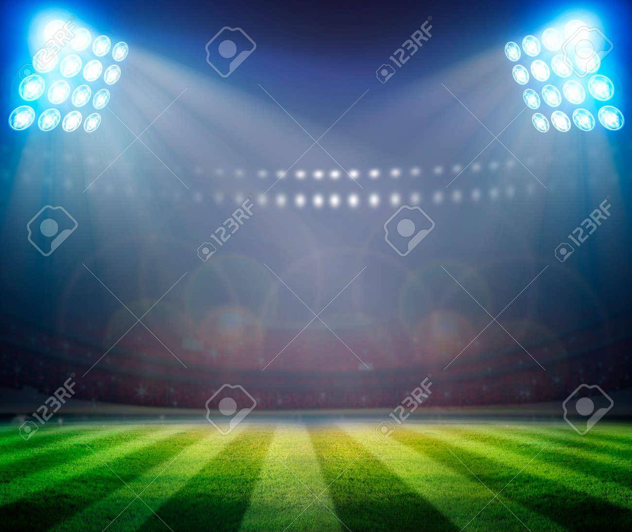 Green soccer field, bright spotlights, - 32846162