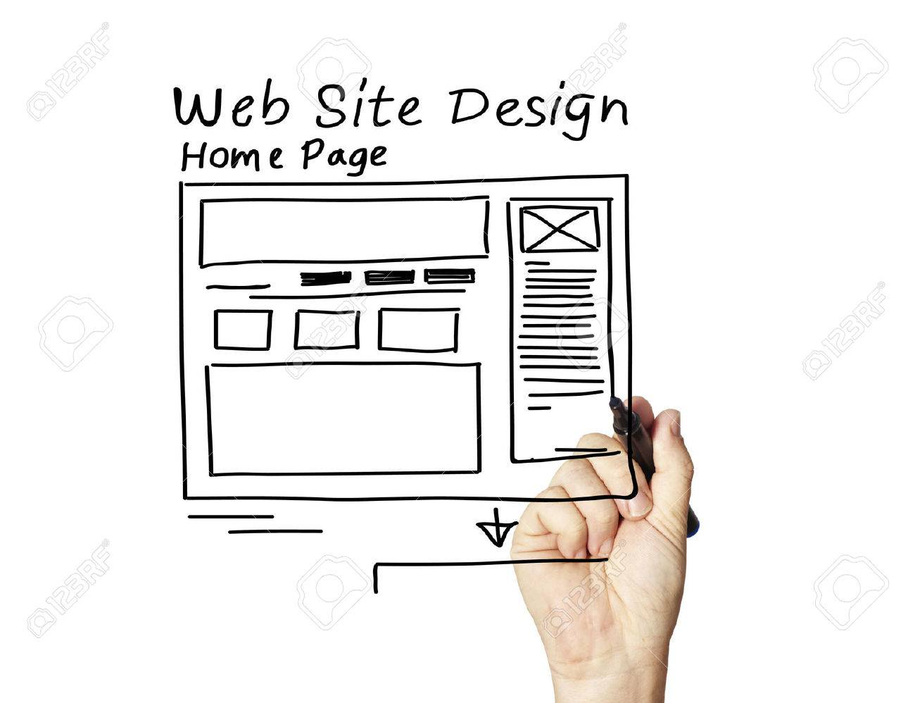 business man writing the web design concepts - 32838516