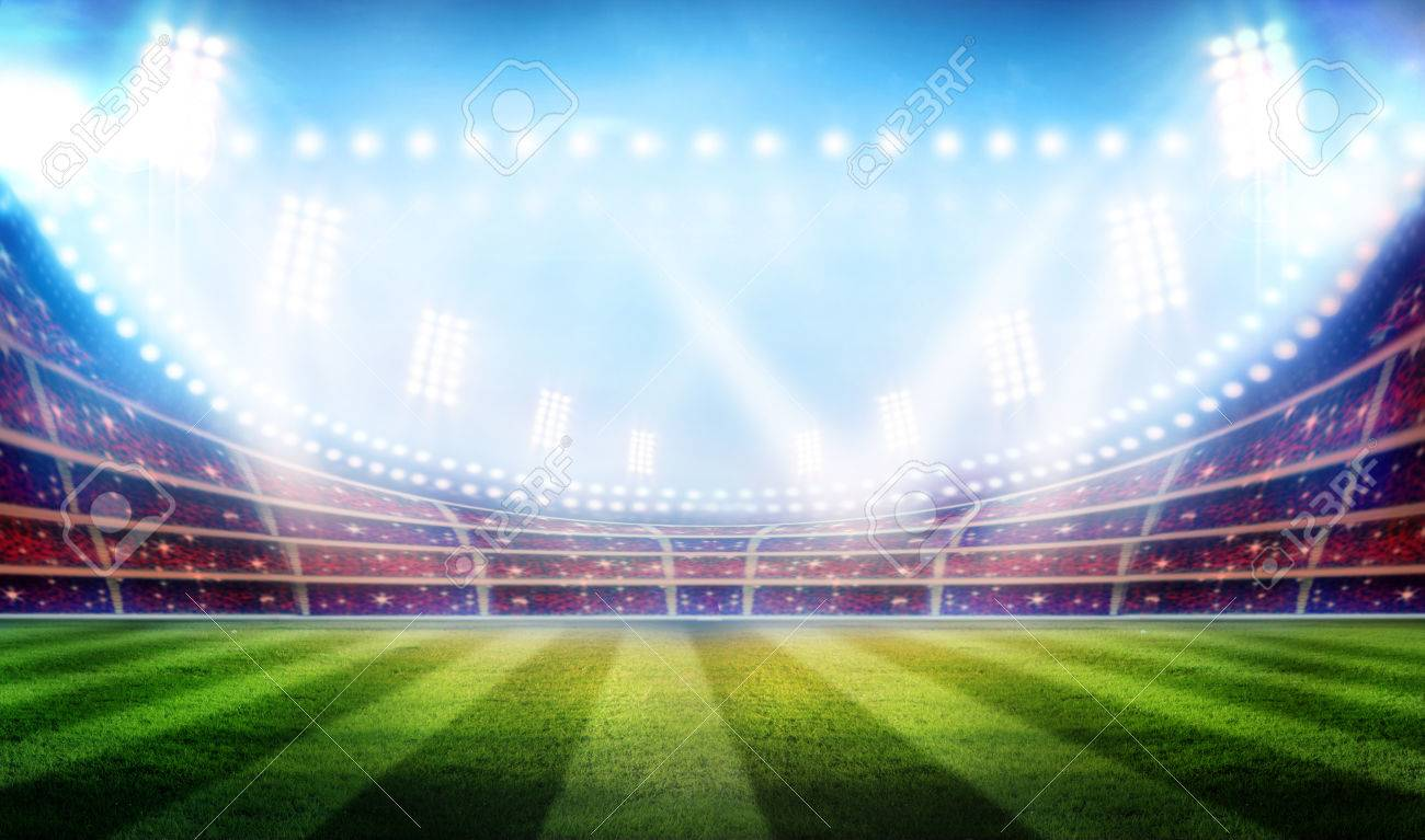 Stadium football game lights are shinning on a green grass field for a sport concept. - 32845636
