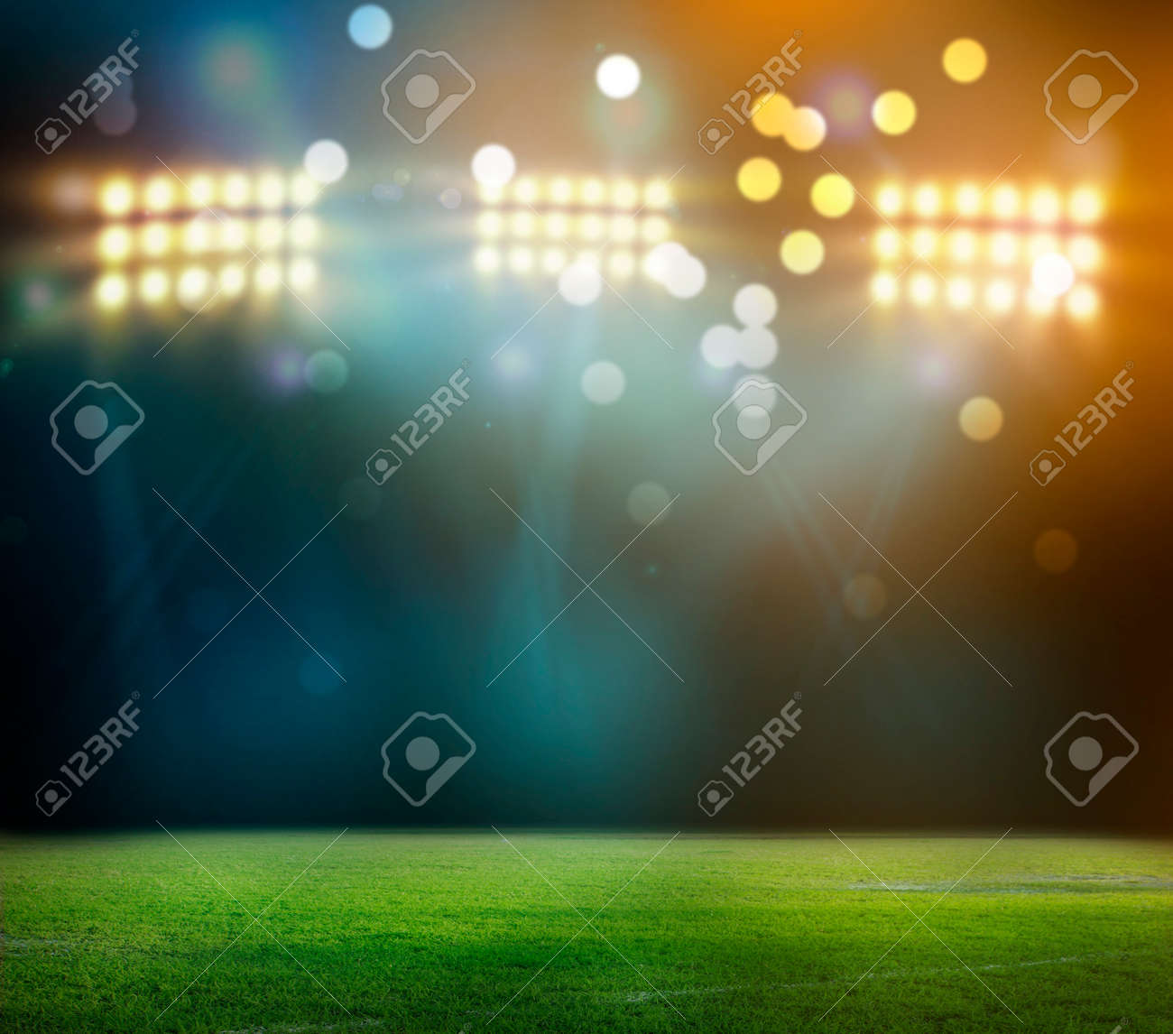 stadium in lights and flashes 3D rendering. - 81121349
