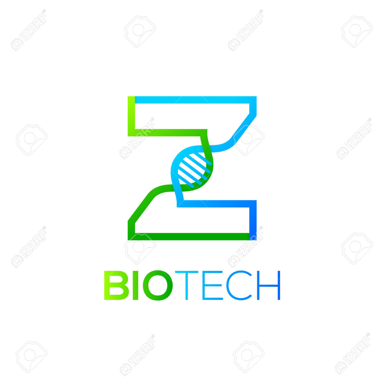 Letter z green and blue with abstract biotechnology dna logotype letter z green and blue with abstract biotechnology dna logotype medicine science laboratory ccuart Choice Image