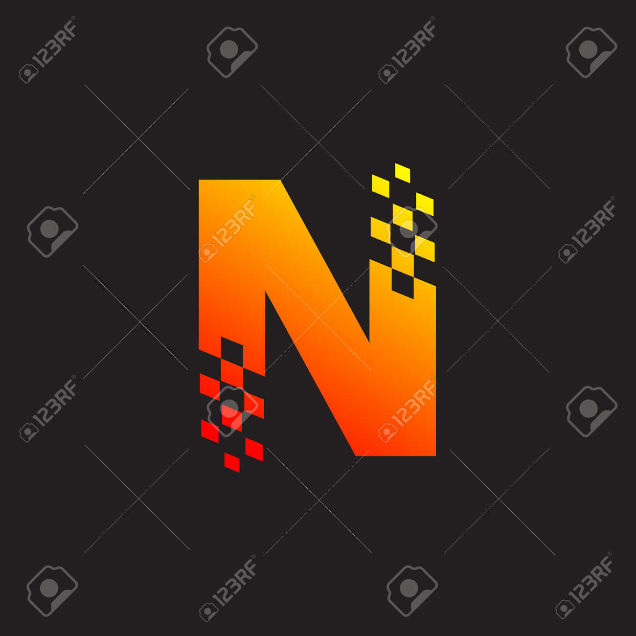 Letter N Logo Fast Speed Moving Delivery Digital And Technology