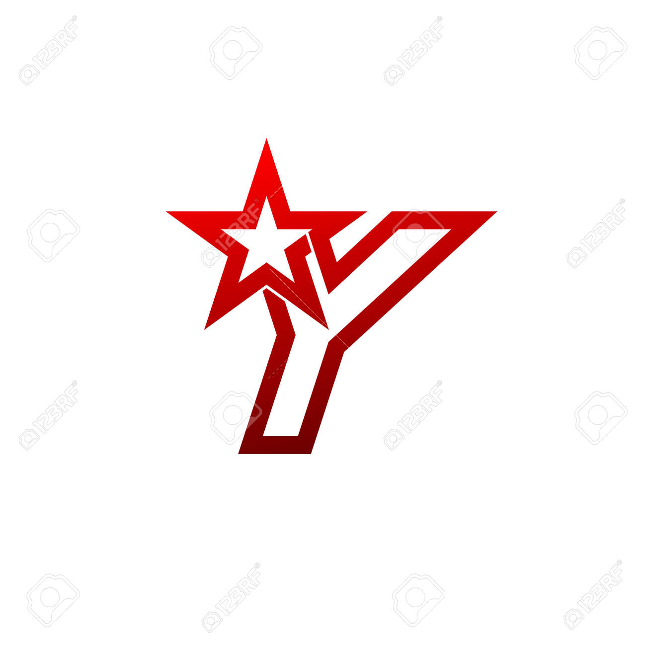 letter y logo red star sign branding identity corporate unusual logo design template stock vector
