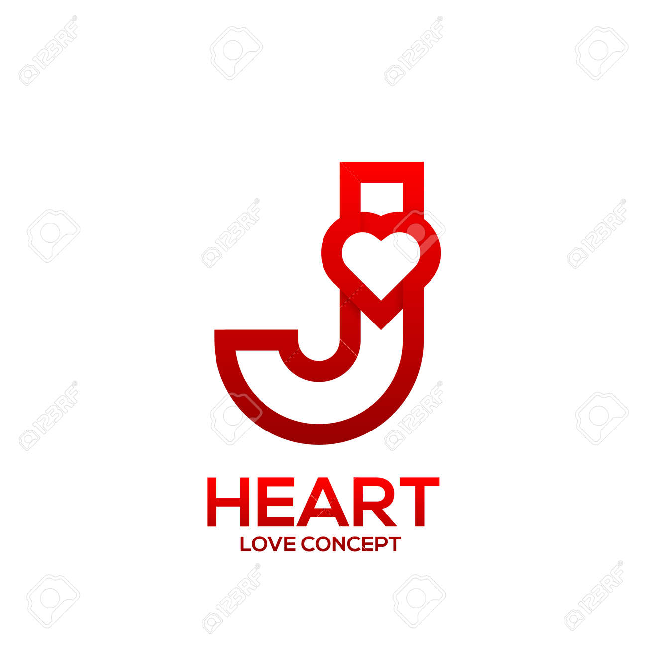 Letter J Heart Red Color Logo Valentine Day Love Concept Logotype