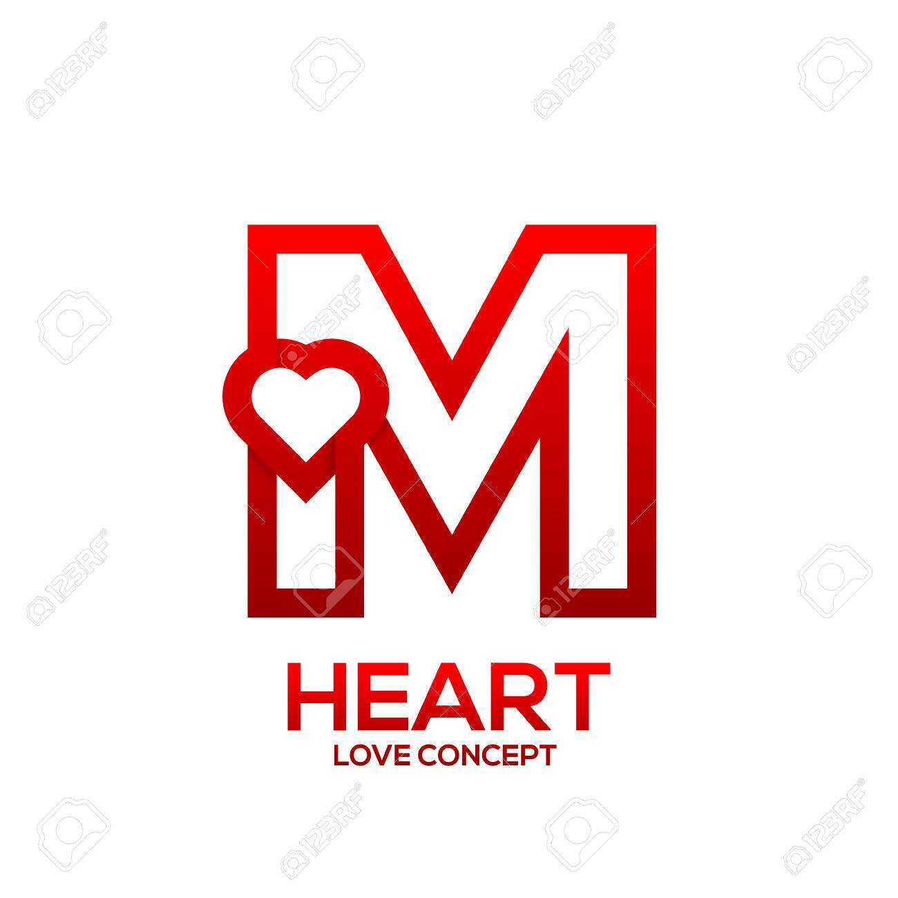 Letter M Heart Red Color LogoValentine Day Love Concept Logotype Stock Vector
