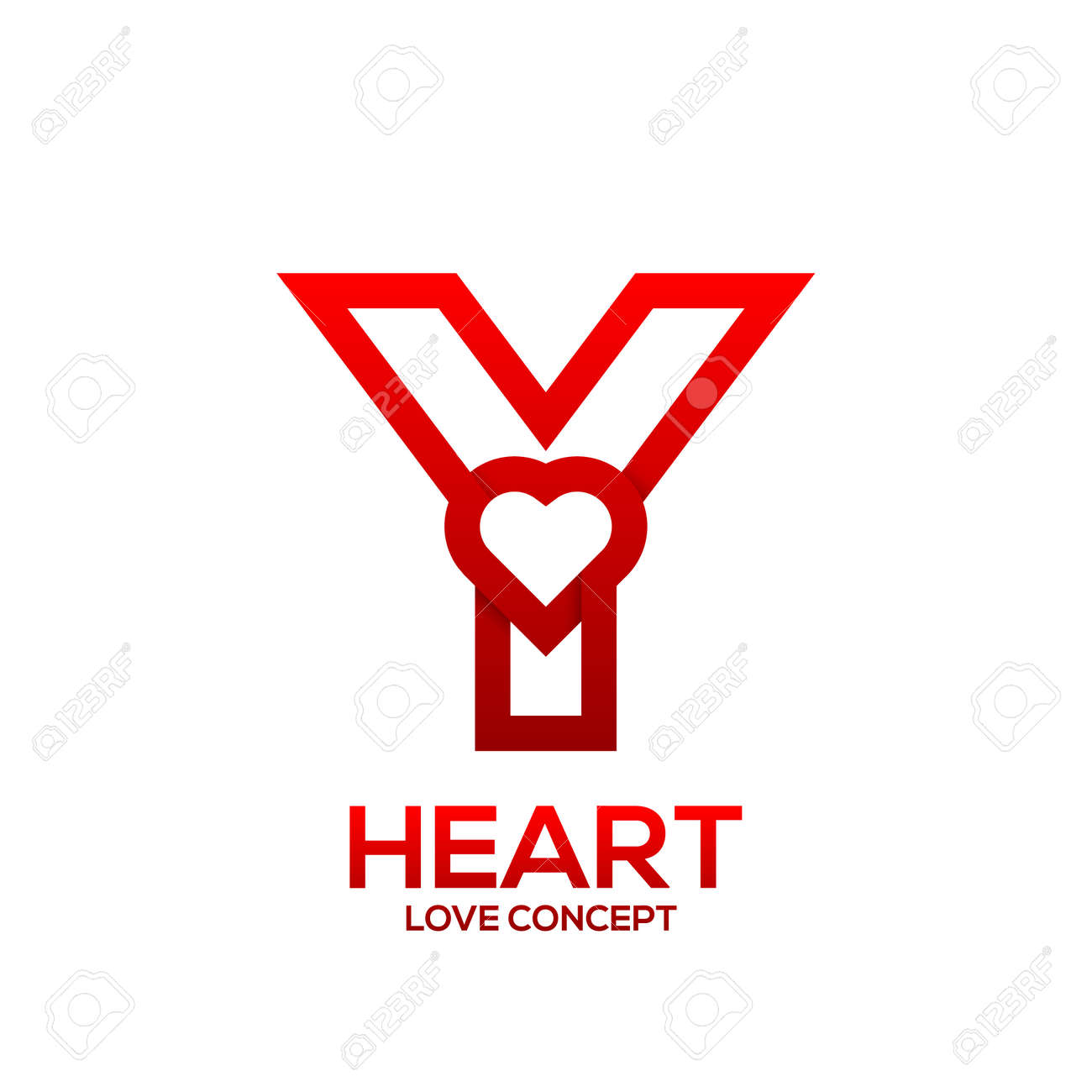 Letter Y Heart Red Color Logo Valentine Day Love Concept Logotype