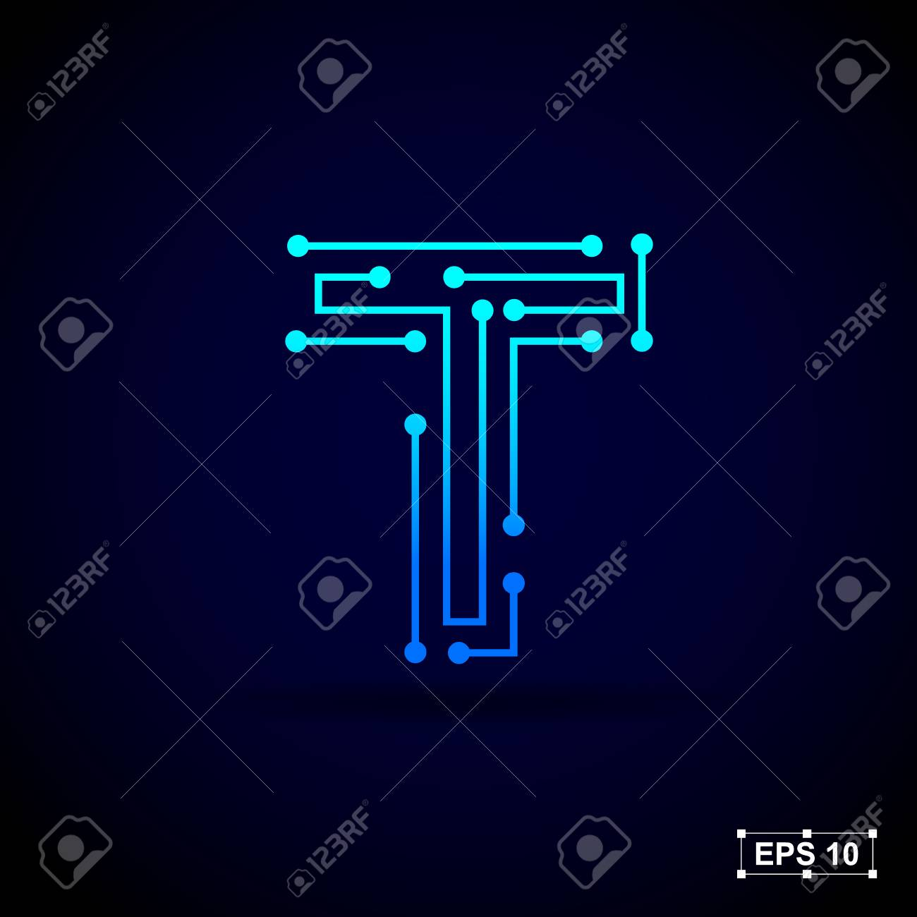 2719a076 Letter T logo design template,Technology abstract dot connection cross vector  logo icon circle logotype