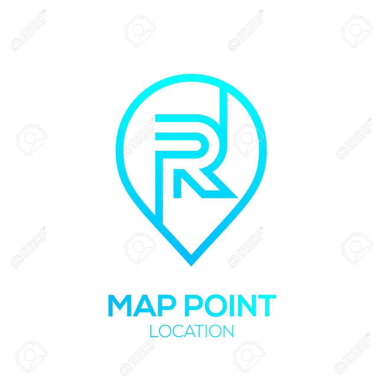 Letter R Logo Map Point Locationcity Locatorpin Maps Symbolgps