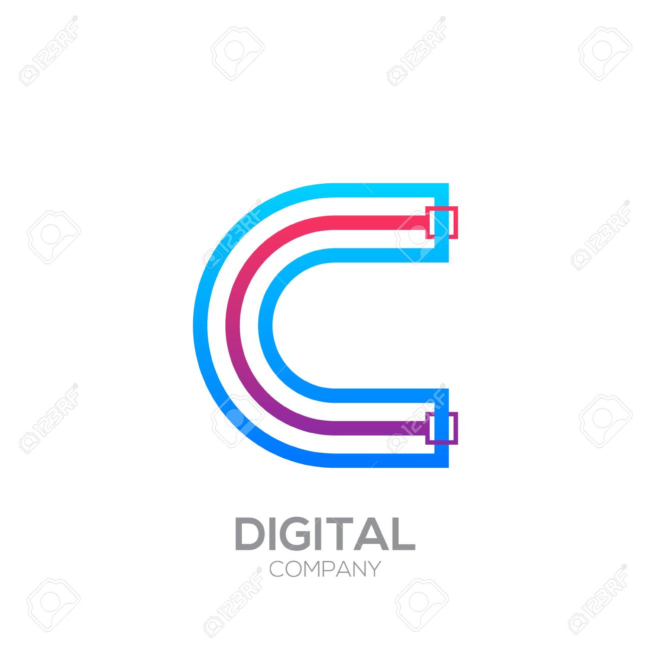 Letter C With Dots And Lines Icon Typesquare Shape Technology