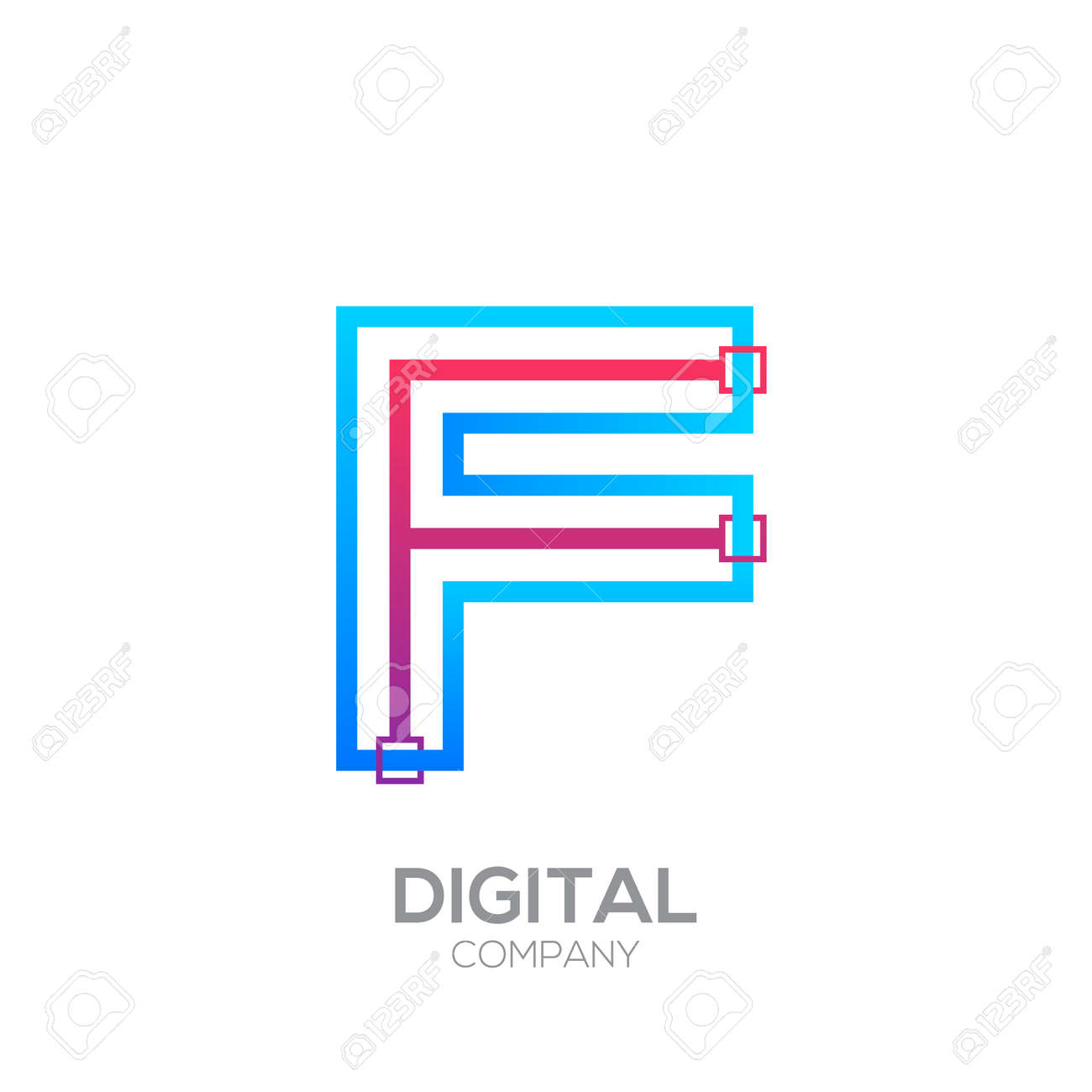 Letter F With Dots And Lines Icon Typesquare Shape Technology
