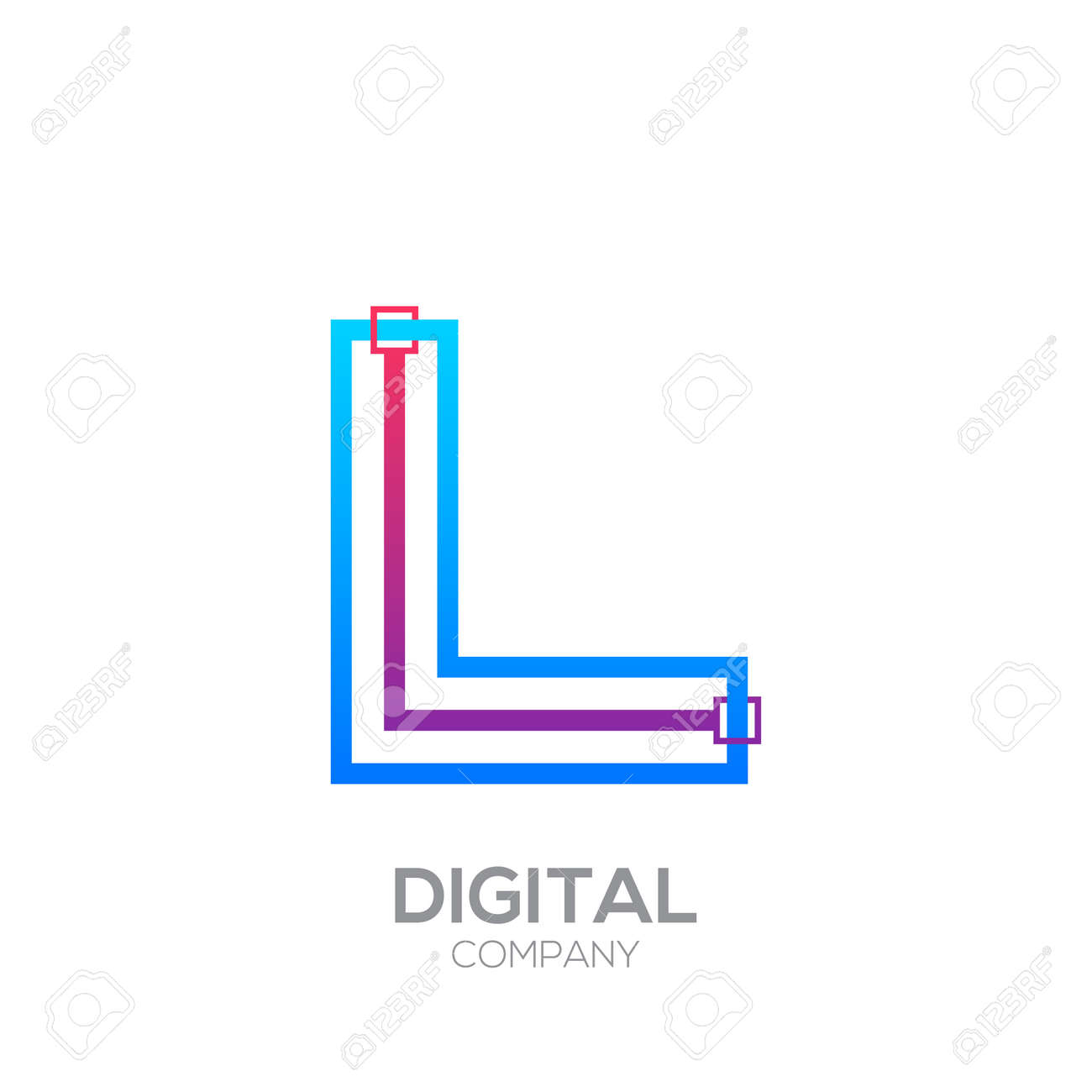 Letter L With Dots And Lines Icon Typesquare Shape Technology