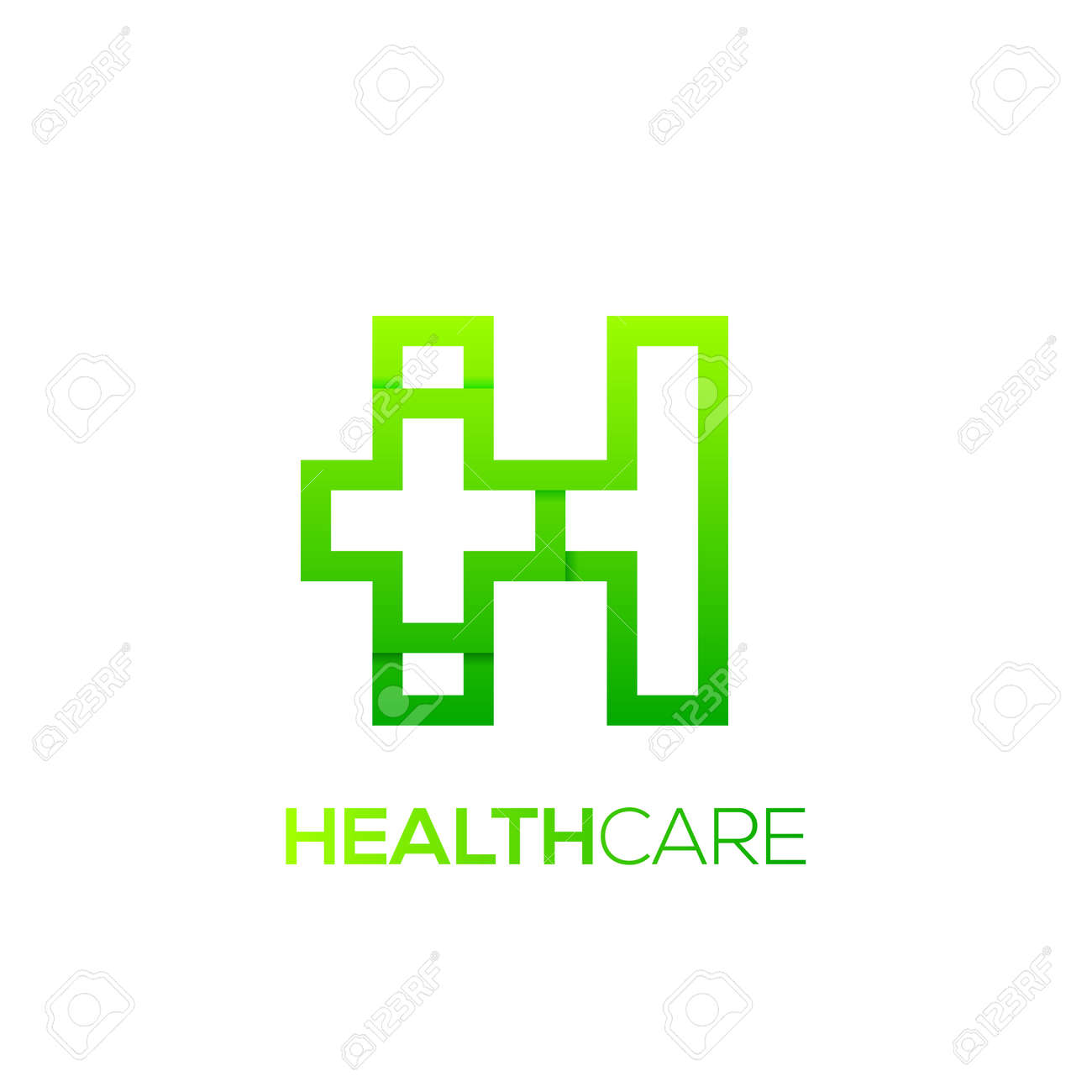 Letter H Cross Plus Logo Green Color,Medical Healthcare Hospital ...